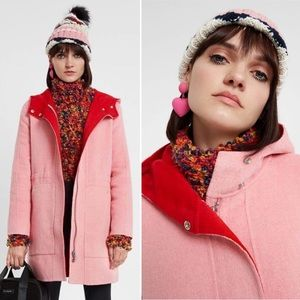 Desigual NEW Pink Wool Blend Lenzy Coat 2 Red